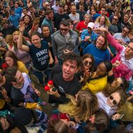 Arkells frontman dances in the crowd during their show at the All Things Go Fall Classic 2019 by Doug Van Sant